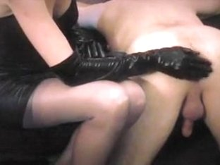 priceless mother put in anal fake penis like domme in stocking