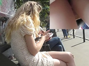 Blonde peach was caught in upskirt free video
