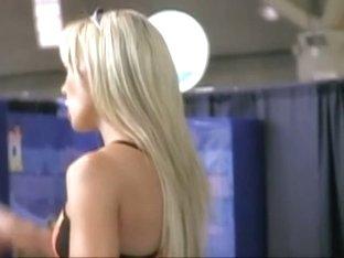 Hot blonde aerobics instructor