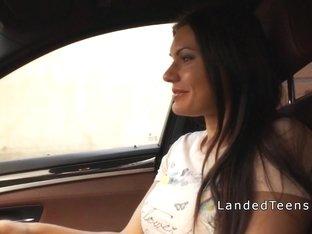 Huge tittied teen anal banged in car