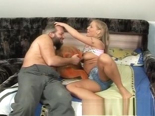 Mesmerizing blonde teeny seduces the old gardener to drill her snatch