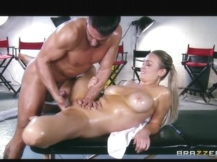 Abbey Brooks acquires oiled up & rubbed down by her masseur