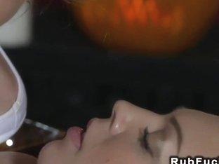 Blonde masseuse makes brunette cums