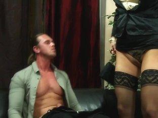 Babe licks cum off blouse