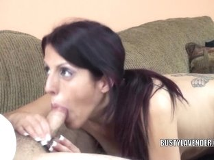 Breasty doxy Lavender Rayne in nylons and engulfing strapon