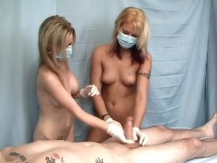 Two Blondes Milk Cock with Gloves
