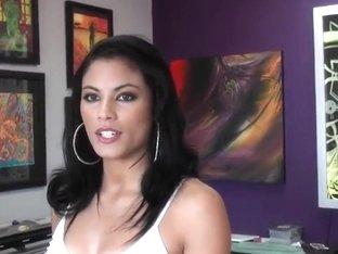 Very sexy brunette secretary, Sofia, calms her client, Jmac, with her boobies