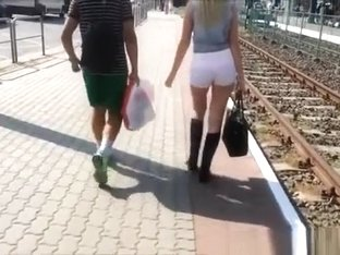 Blonde teen in tight white shorts