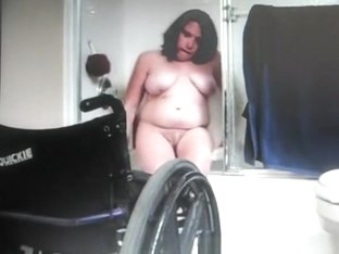 Chubby woman in wheelchair spied in bathroom