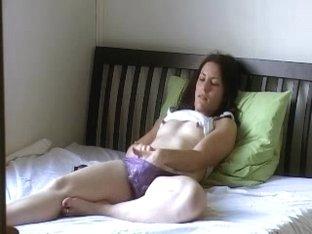 Lovely brunette plays in amateur voyeur masturbation video