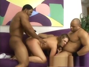 Wild blonde with a fabulous ass Brianna Love takes on four black dicks