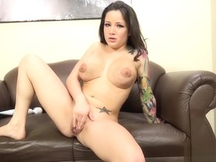 Busty, tattooed Charity Bangs goes for white dick first, then a black one
