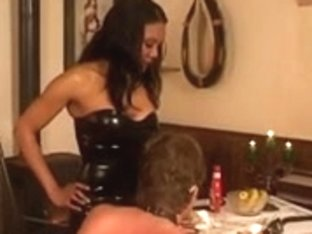 Hot ebony mistress dominates her submissive slave