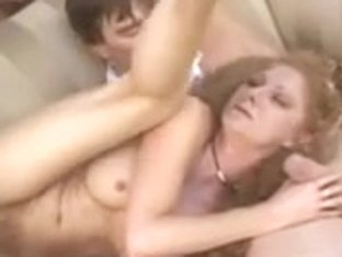 Nympho MILF Redhead Takes 5 Cocks in Great Gangbang