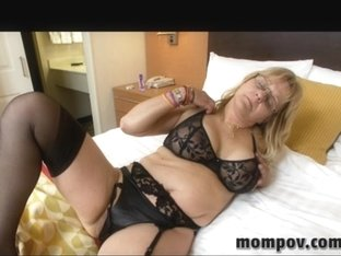 Sexy blonde with real big bust sucks cock in milf video