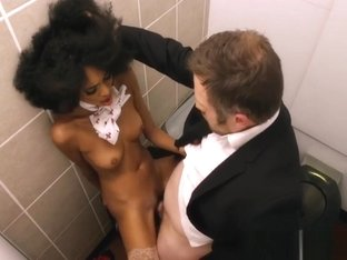 Mouthwatering Black Stewardess Bounces On A White Rod Wildly
