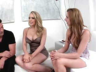 Amazing pornstars Kagney Linn Karter and Lexi Belle in hottest blowjob, swallow porn video