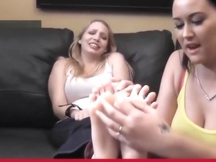 Sweet blonde is tickle tortured on her beautiful FEET
