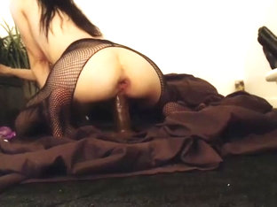 Fishnet Stocking Amateur with dildo
