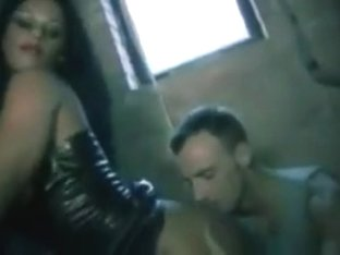 Hot Goth Babe in Leather Lap Dance Fuck