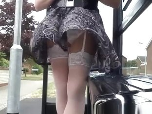 White stockings and panties wind exposed