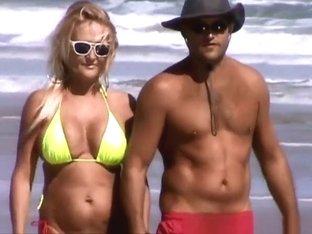 Mature woman in bikini with big tits