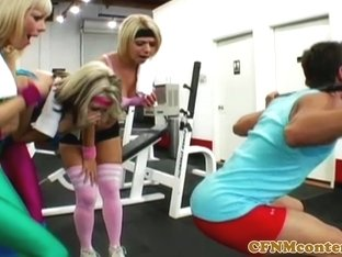 CFNM milfs jerking penis at the gym