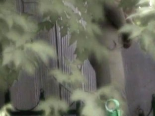 Pissing woman was recorded in park on a spy cam