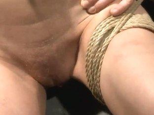 Short haired blonde Chicky Clarissa bondaged and fucked by neighbourhood boyfriend