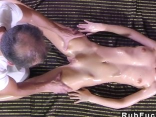 Blonde rides masseurs hard dick