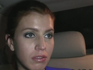 Czech babe fucks in fake taxi at night