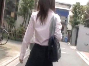 Kinky following scene of cute Japanese schoolgirl receiving sharking gift