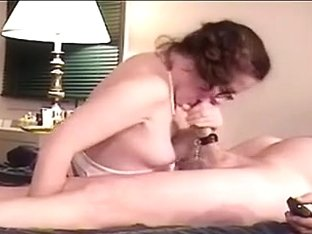 Horny pigtailed nerd sucks my cock and doesn't want to stop
