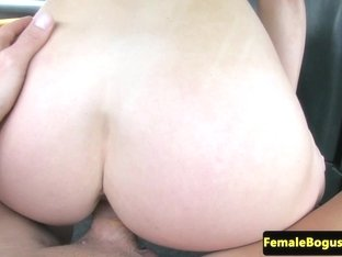 Busty lady taxi driver screwed outside
