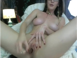 Girl with big tits masturbates hard