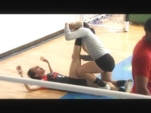 Volleyball teens Stretching