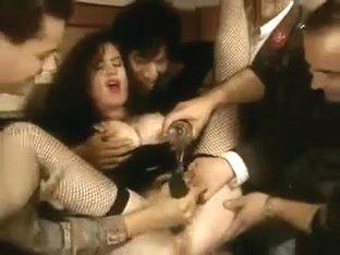 Classic - Hot Brunette Cucumber Arse & Pussy in Public Bar