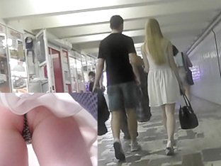Boyfriend didn't notice his girl upskirted by voyeur