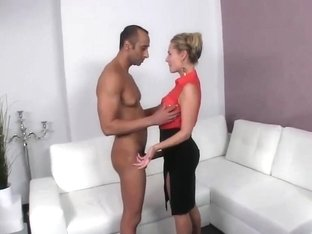 Nerveous actrice testing big guy