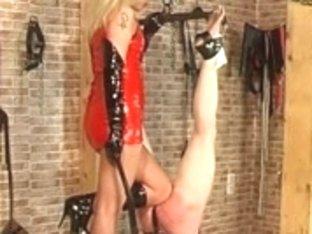 Evil blonde domina gets her serf flogged hard