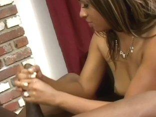 Hot Black Chick Smokes And Gives Handjob