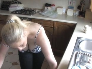 Busty blonde MILF shows her mighty rack in HD