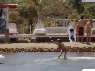 Curvy badass babes enjoyed wake boarding while all naked