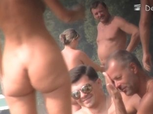 Voyeur nudist beach video with sexy blonde