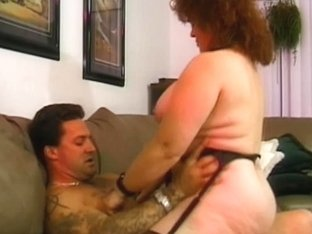 Old doxy receives her overweight whoppers sucked by fella