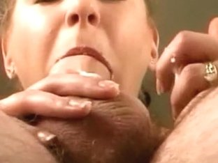 Closeup of wife sloppy oral-sex-job from below