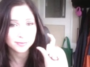 Wonderful brunette dirty talks with a dude on camera