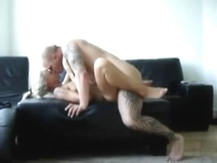 Golden-Haired and tatoo fella fuck on film