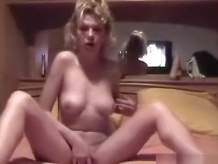 Skinny blonde girl tease, masturbates and sucks off her bf's cock