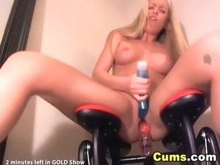 Golden-Haired rocking a vibrator fuck machine